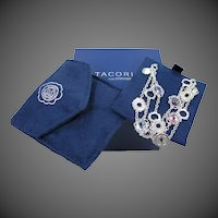 Tacori Solid Sterling Silver Multi Colored CZ Cascading Bracelet Mint with Box & Pouch