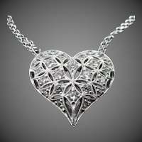 Tacori Sterling Silver & CZ's Heart Shaped Necklace