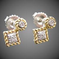 Gabriel & Co. 14k White and Yellow Gold Diamond Earrings
