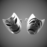 Sterling Mexico Pre Eagle Comedy & Tragedy Cufflinks Cuff Links