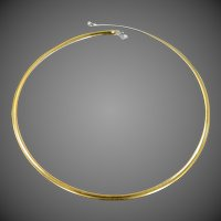"""Extraordinary 14k White & Yellow Gold Reversible and Versatile Omega 20"""" Long Necklace"""