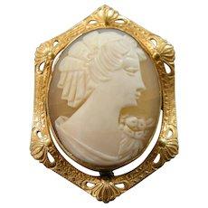 1920's AMCO Gold Fld Shell Cameo Pin