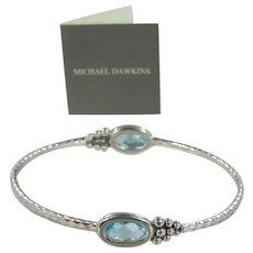 Michael Dawkins Sterling Silver & Checkerboard Blue Topaz Bangle Bracelet