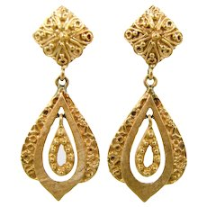 Heavy 14k Solid Gold Etruscan Style Dangle Earrings