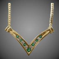 10k Gold Diamonds & Emeralds Chevron Necklace