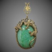 1930's Peking Glass & Brass Winged Gargoyle Necklace