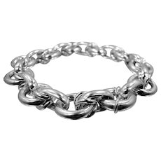 "Chunky Sterling Silver Italy 7 1/2"" Long Bracelet"