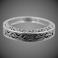 Nice Solid Sterling Silver Finely Etched Stacking Ring