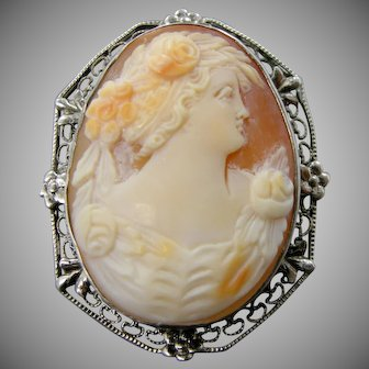 1920's Sterling Silver Carved Shell Filigree Cameo Pin / Pendant