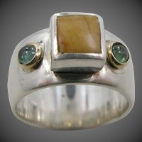 Handmade Sterling Silver, Gold, Semi Precious Stones Cigar Band Ring