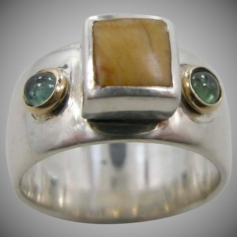 Handmade Sterling Silver, Gold, Semi Precious Stones Cigar Band Ring