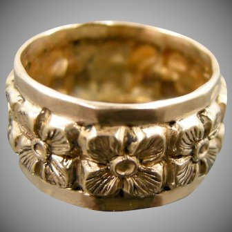 Victorian Gold Filled Floral Cigar Band Size 5 1/4 Ring