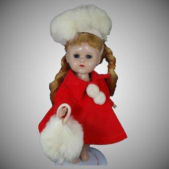 Vogue Ginny 1955 Red Velvet Coat With Fur Hat / Tam & Muff #183