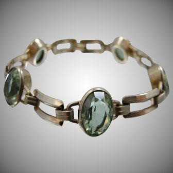 Engel Bros. 1940's Gold Filled Retro Bracelet with Green Faceted Stones