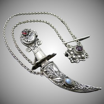 Vintage Sterling Silver, Garnets & Moonstone Chatelaine Pins with Sword and Scabbard