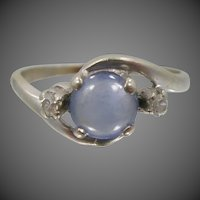 14k White Gold Natural Blue Sapphire & Diamonds Lady's Size 7 1/4 Ring