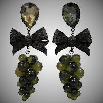 LONG Lucite Grape Clusters Dangle Earrings