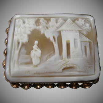 Victorian Gold Filled Hand Carved Shell Cameo Pin Rebecca at the Well