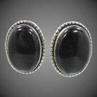 1940's Danecraft Sterling Silver & Black Onyx Screw Back Earrings
