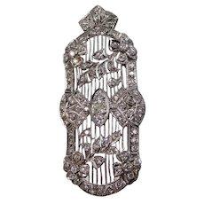 RARE Edwardian Platinum & Diamonds Brooch with Fold Down Pendant Bail