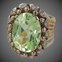 European 18k Gold Peridot Green Spinel Wide Ring