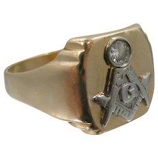 Late Victorian 14k Gold & Diamond Masonic Ring
