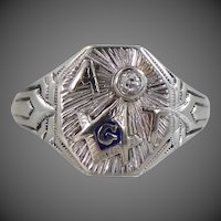 Ostby & Barton 1920's 14k White Gold Diamond Masonic Ring