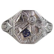 Ostby & Barton 1920's 14k White Gold Diamond Masonic Ring