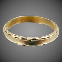 1930's Nicely Etched 14k Solid Gold Size 9 1/2 Stacking Ring