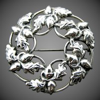 Danecraft Sterling Silver Acorn Pattern Circle Pin