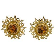 Kenneth J Lane K.J.L. Gold Tone Topaz Glass Clip on Earrings