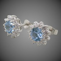 Jacmel JCM Sterling Silver Blue & Clear CZ Pierced Earrings