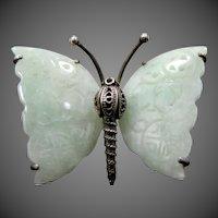 1930's Sterling Silver Pierced & Carved Jade Butterfly Brooch