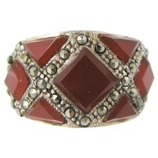 Sterling Silver Marcasites & Faceted Carnelian Lady's Size 6 1/2 Ring