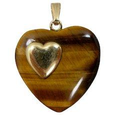 14k Gold Carved Tiger Eye Heart Pendant