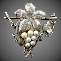 Sterling Silver & Cultured Pearls Floral Pin Circa 1930's