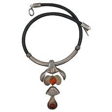 Rare Handmade Modernist Sterling Silver & Carnelian Necklace