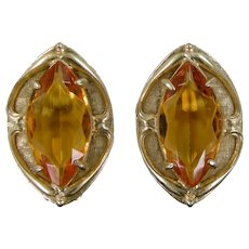 Whiting and Davis Gold Tone Topaz Colored Glass Clip on Earrings