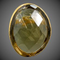 HUGE Faceted Amber Glass & Brass Size 5 1/2 Ring