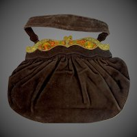 Vintage SCHERICK Brown Suede Purse From Rue St. Honore Paris With Enamel Folding Frame