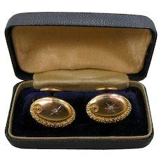Victorian 10k Gold & Diamonds Cuff Links with Original Box Cufflinks Wedding | Anniversary