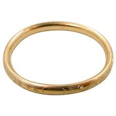 Vintage Gold Filled Finely Etched Bangle Bracelet