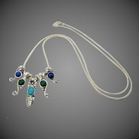 Carlisle Jewelry Sterling Silver & Gemstones Charms Southwestern Necklace Bill Pollack