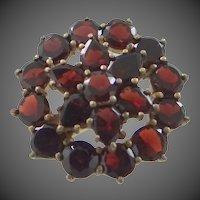 "Victorian Flat Cut Garnets ""Garnet Gold"" Pin"