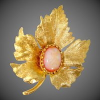 14k Gold & Opal Figural Leaf Binder Bros. Brooch