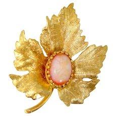14k Gold & Opal Figural Leaf Binder Bros. Brooch