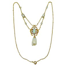 Victorian 14k Gold Natural Opal & Freshwater Pearls Festoon Necklace