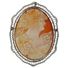 Large Art Deco 10k White Gold Filigree Shell Cameo Pin / Pendant