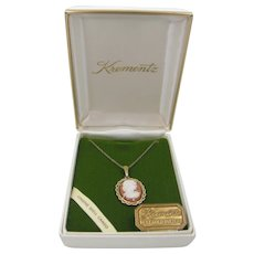 Krementz 14k Gold Overlay Genuine Shell Cameo Necklace Mint in Box