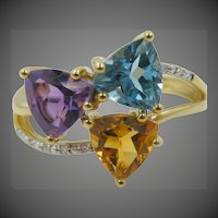 14k Gold Lady's Size 7 1/4 Ring with Topaz, Citrine, Amethyst and Diamonds